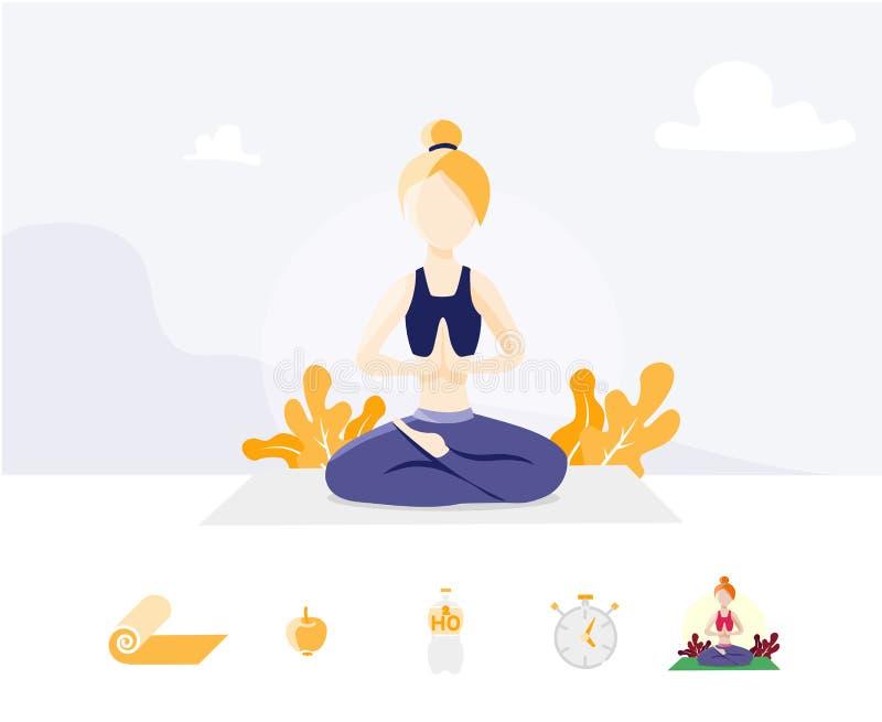 瑜伽学校,演播室模板  网页设计的现代平的设计观念艺术网站和流动网站的 g 向量例证