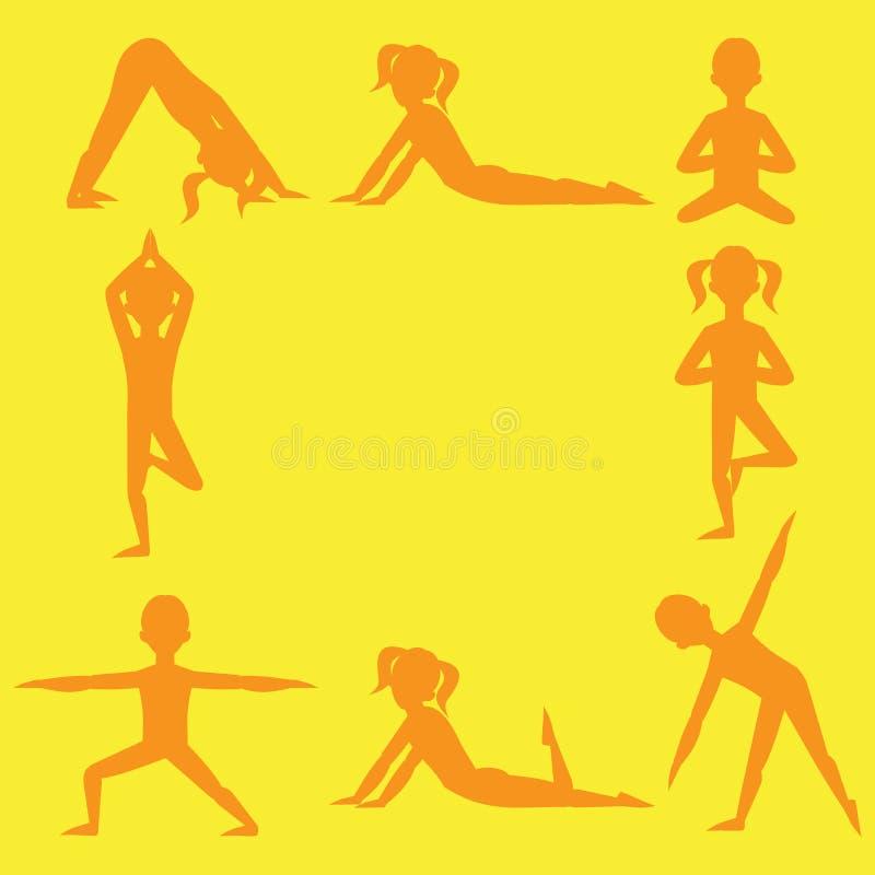 瑜伽孩子剪影集合 孩子和健康生活方式的体操 背景执行女孩健康查出的s衬衣体育运动白色瑜伽 瑜伽类,瑜伽中心,瑜伽演播室 fla 皇族释放例证