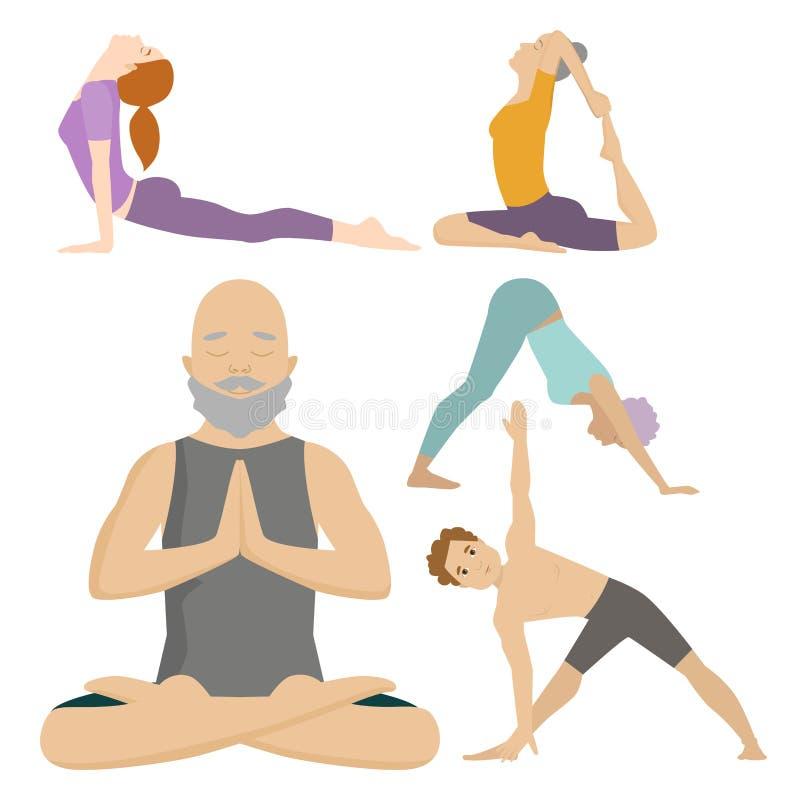 瑜伽安置字符类别凝思人集中人的和平生活方式传染媒介例证 皇族释放例证