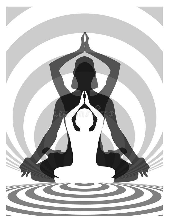瑜伽家庭 向量例证