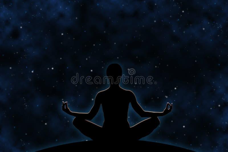 瑜伽思考宇宙 免版税库存照片