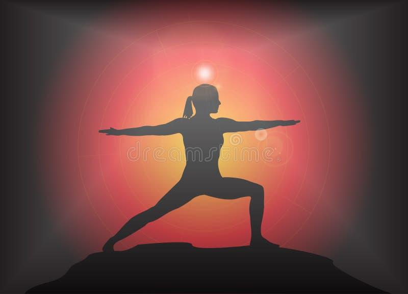 瑜伽战士姿势强光背景 皇族释放例证