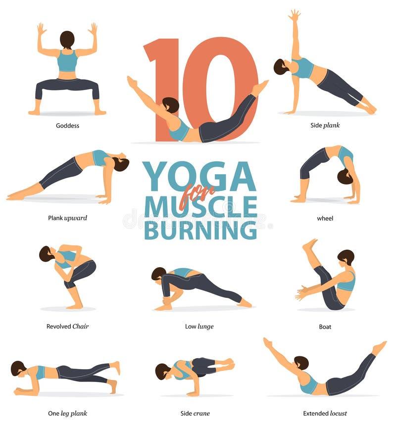 瑜伽摆妇女形象Infographic姿势 烧在平的设计的肌肉的10个瑜伽姿势 皇族释放例证