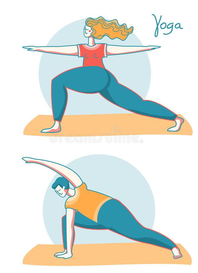 瑜伽时间 在体育席子的女子和人实践的瑜伽 传染媒介例证健康生活方式 向量例证