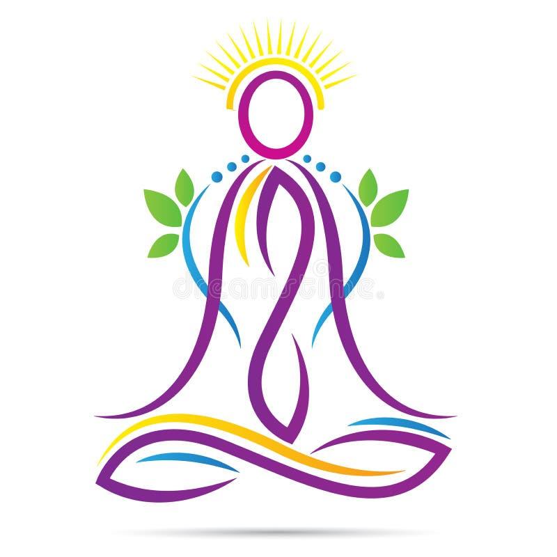 瑜伽概述莲花坐健康健康生活商标 皇族释放例证