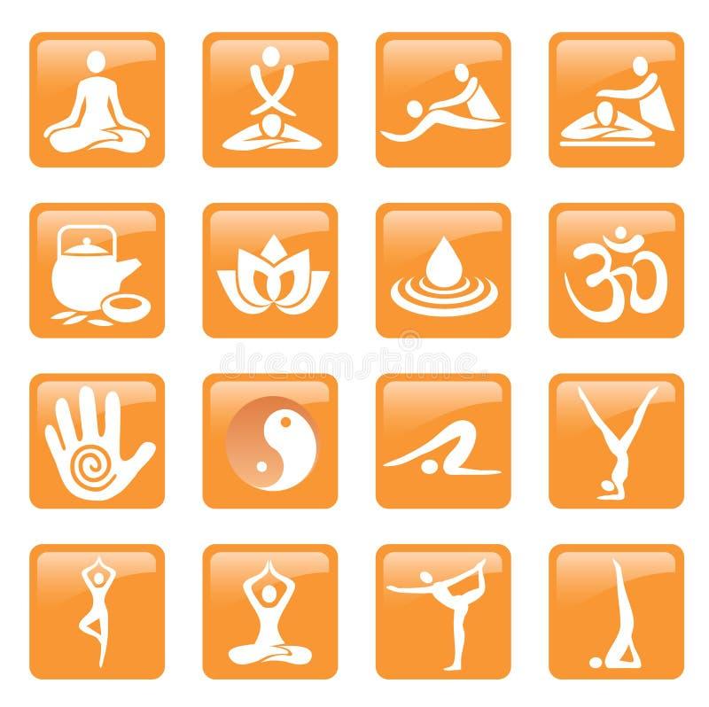 瑜伽温泉按摩按图标 向量例证