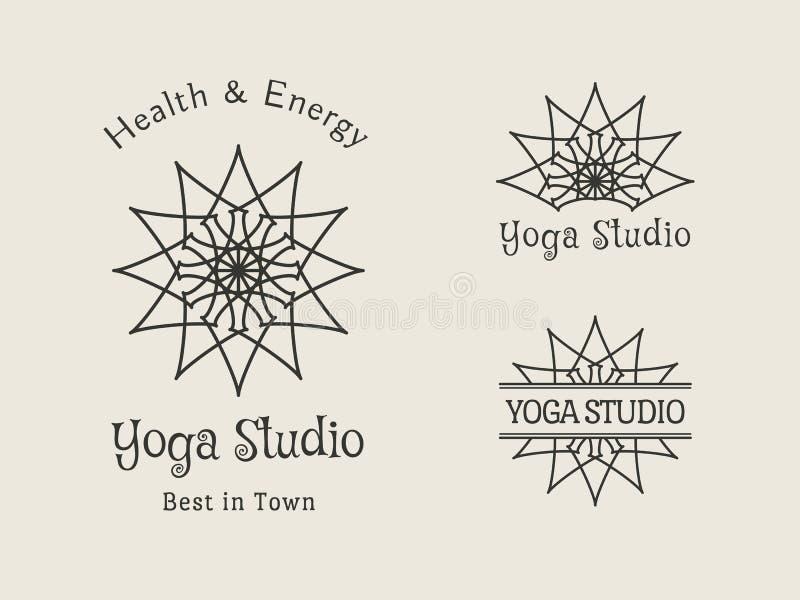 瑜伽演播室传染媒介商标模板集合 库存例证