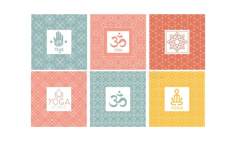 瑜伽演播室商标设计集合,标签、徽章或者象征传染媒介例证的创造性的模板 向量例证
