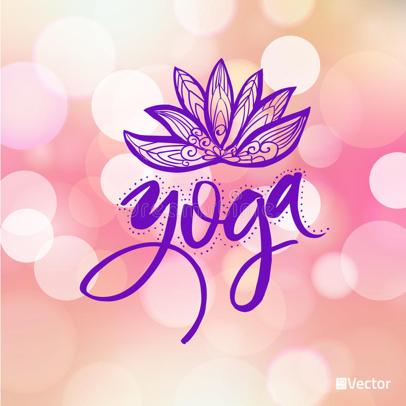 瑜伽演播室或凝思类的商标 温泉商标设计水彩元素 概念递他的人凝思被上升的天空对年轻人 库存例证