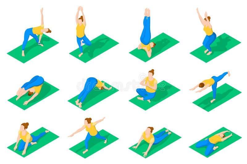 瑜伽的人们摆在等量象 向量例证