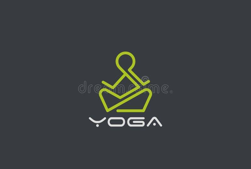 瑜伽线性商标的传染媒介 人坐的莲花姿势 f 库存例证