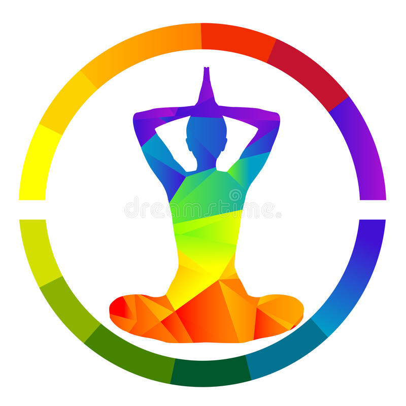 瑜伽象被隔绝在白色背景 向量例证