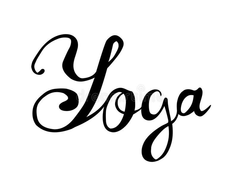 瑜伽 在白色背景的手文字 向量例证