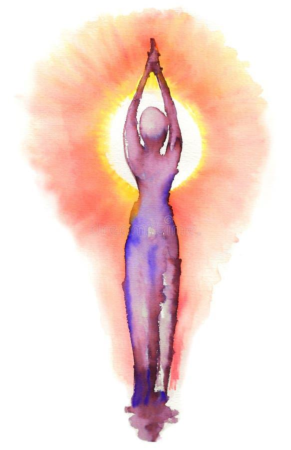 瑜伽-太阳致敬 皇族释放例证