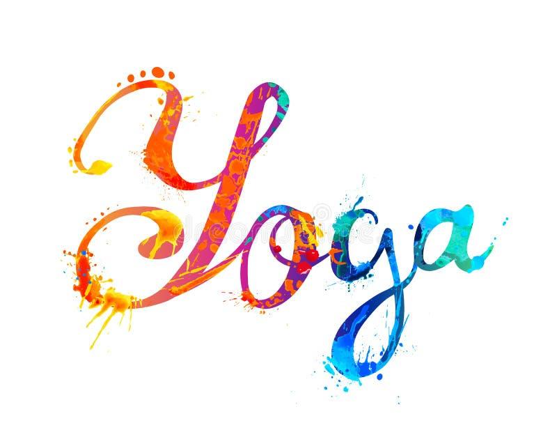瑜伽 飞溅油漆的手文字 向量例证