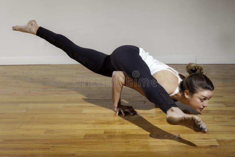 瑜伽Koundinyasana姿势相当女性模型 库存照片