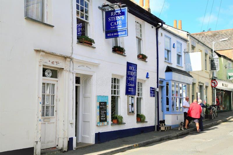 瑞克斯坦的咖啡馆,Padstow,康沃尔郡,英国 免版税库存图片