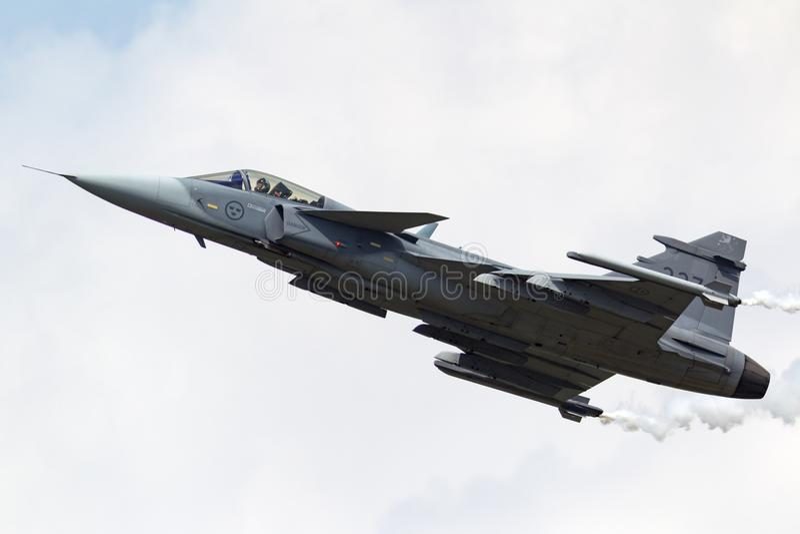 瑞典人空军队绅宝JAS-39C Gripen多角色战机39227 免版税库存照片