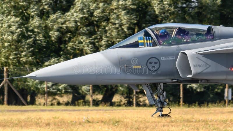 瑞典人绅宝Gripen喷气机 库存照片