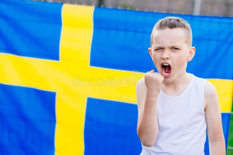 瑞典全国橄榄球队支持者 库存照片