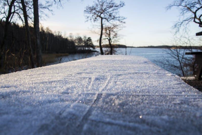 瑞典冬天,当它最后到达时 免版税库存照片