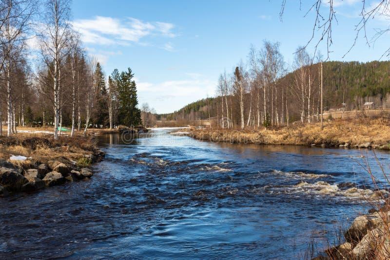 瑞典北部小河融冰山蓝天背景 库存图片