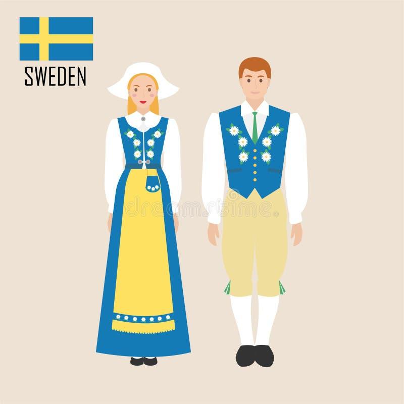 瑞典妇女和人传统服装的 皇族释放例证