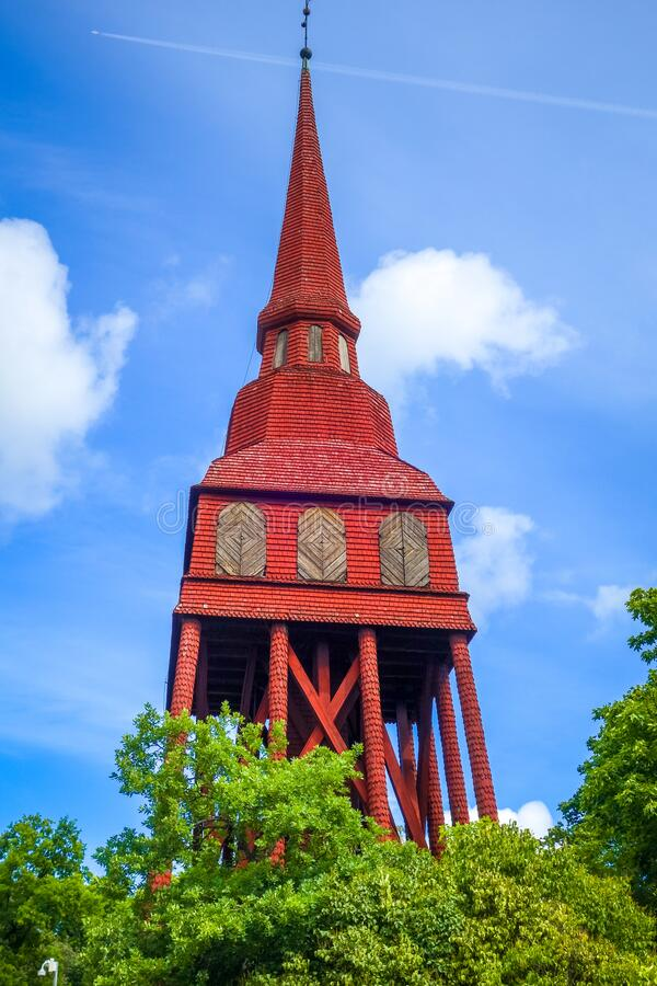 瑞典斯德哥尔摩斯坎森的红木教堂 — 斯德哥尔摩/瑞典 库存图片