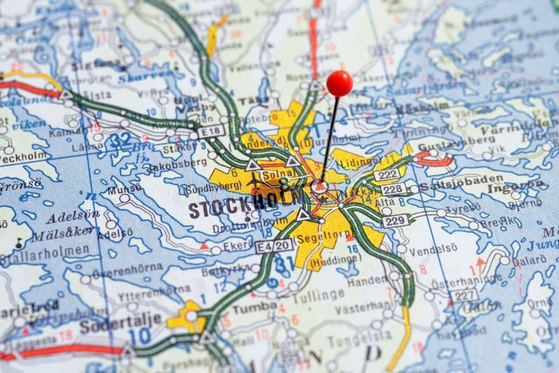 瑞典斯德哥尔摩, 2018年4月07日:地图系列的欧洲城市 斯德哥尔摩特写镜头  库存照片