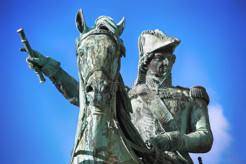 瑞典的查尔斯XIV约翰前国王雕象在斯德哥尔摩, S 图库摄影