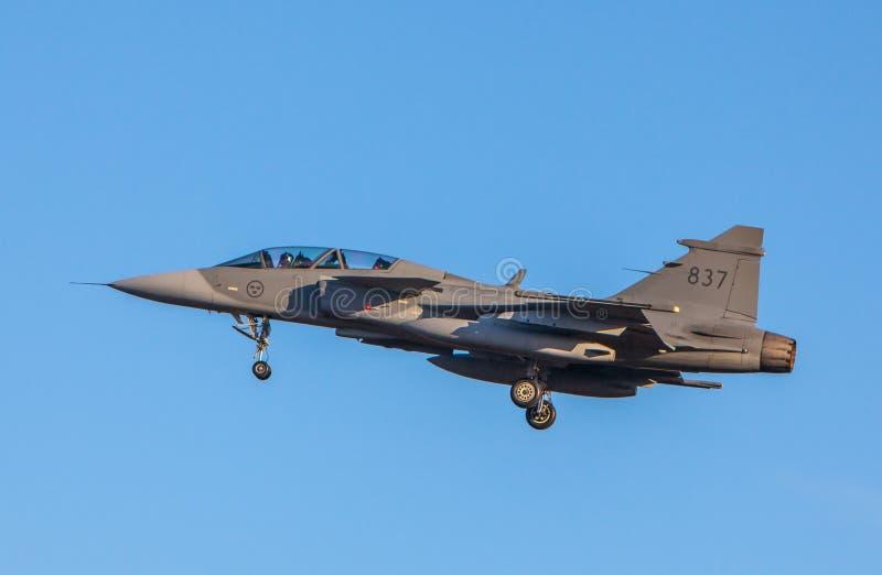 从瑞典空军队的JAS 39 Gripen战斗机 库存照片
