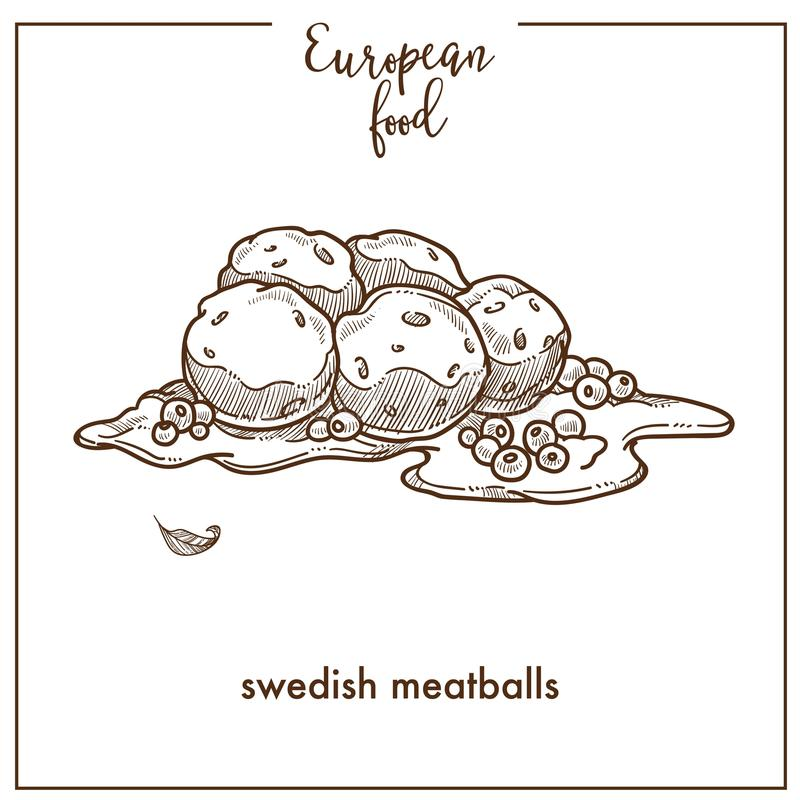 瑞典肉丸欧洲食物烹调菜单设计的剪影象 皇族释放例证