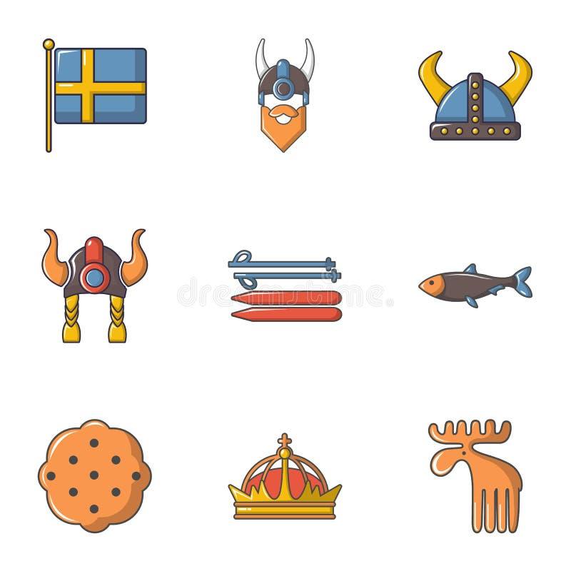 瑞典被设置的历史象,动画片样式 皇族释放例证