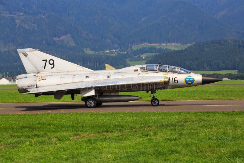 瑞典语空军队绅宝35 Draken 库存照片