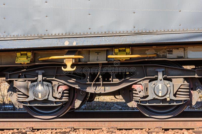 瑞典铁路车厢上的车轮悬架 库存照片