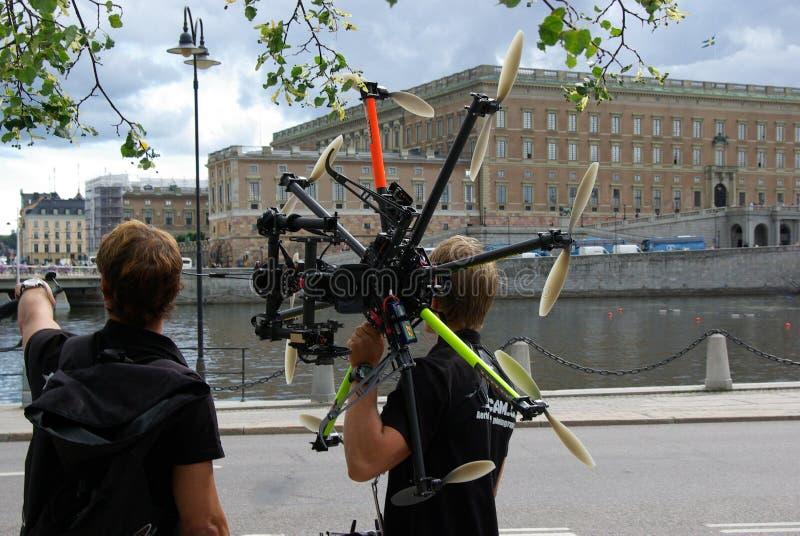 瑞典,在音乐节的直升机 免版税库存图片