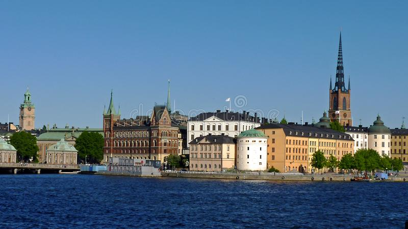 瑞典,斯德哥尔摩,城市和它的宫殿的看法 库存图片