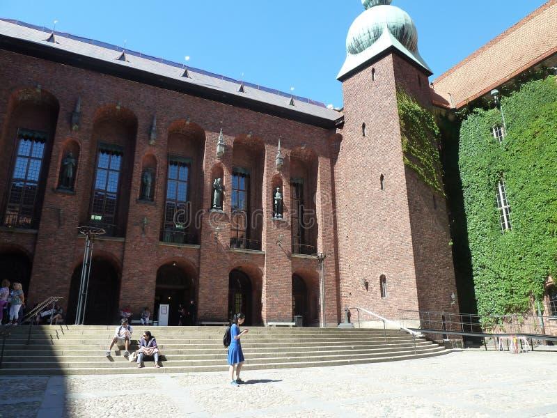 瑞典,斯德哥尔摩-在城镇厅里面的庭院在斯德哥尔摩 库存照片
