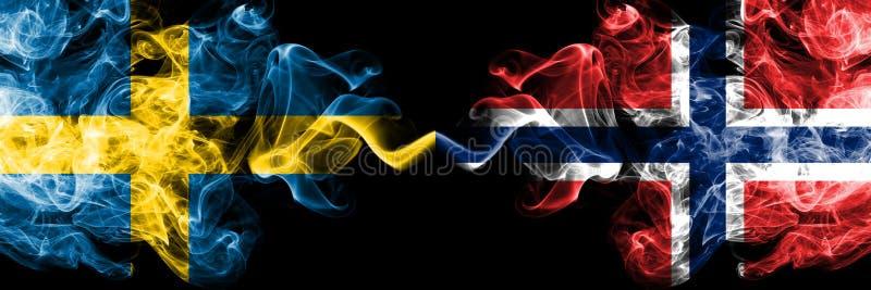 瑞典,瑞典语,挪威,挪威语,轻碰竞争厚实的五颜六色的发烟性旗子 欧洲橄榄球资格比赛 免版税图库摄影