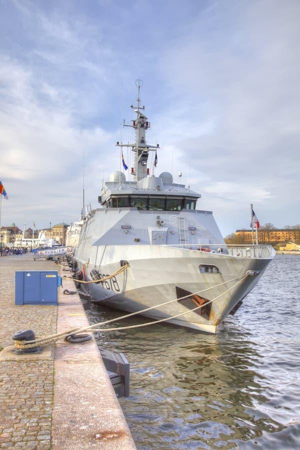 瑞典 城市斯德哥尔摩 海码头 库存图片
