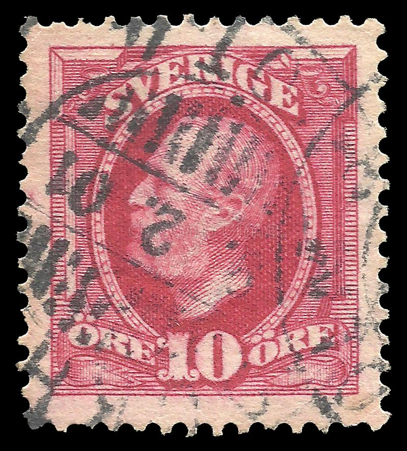瑞典-邮票1891:在国家首脑的颜色编辑,显示奥斯卡The Second国王 库存图片