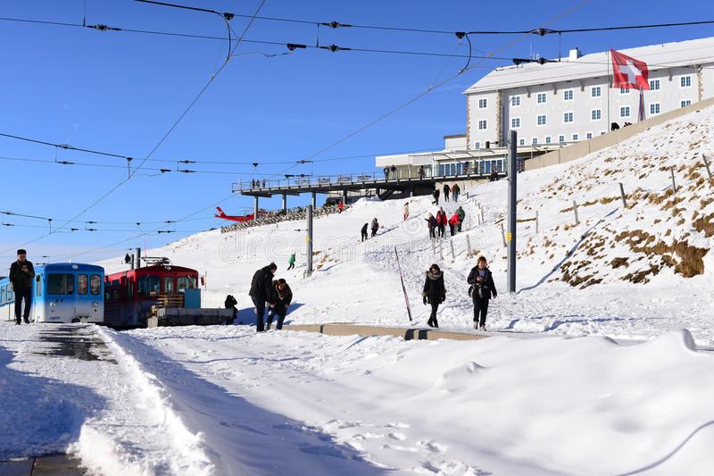 瑞吉峰KULM,瑞士- 12月10 :从瑞吉峰Kulm的看法 库存照片