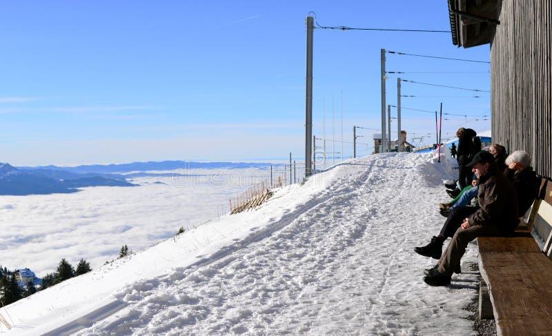 瑞吉峰KULM,瑞士- 12月10 :从瑞吉峰Kulm的看法 免版税库存图片