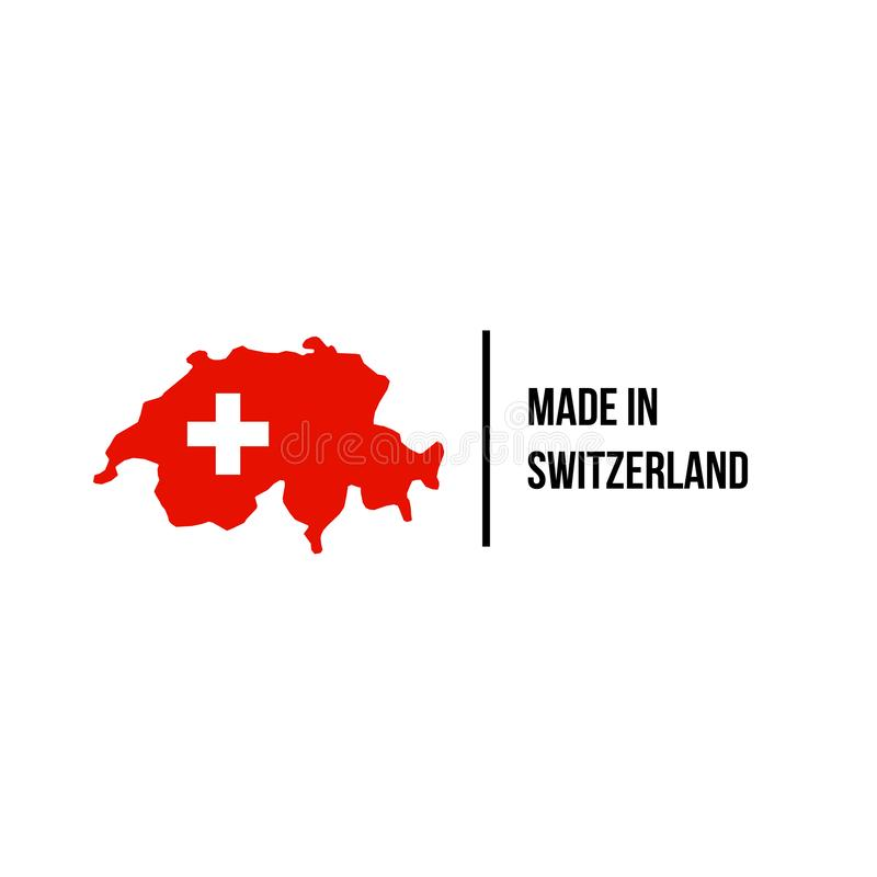 瑞士人做了象瑞士旗子地图质量封条 皇族释放例证