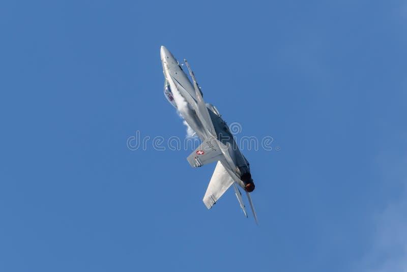 瑞士人空军队F18大黄蜂喷气机 免版税图库摄影