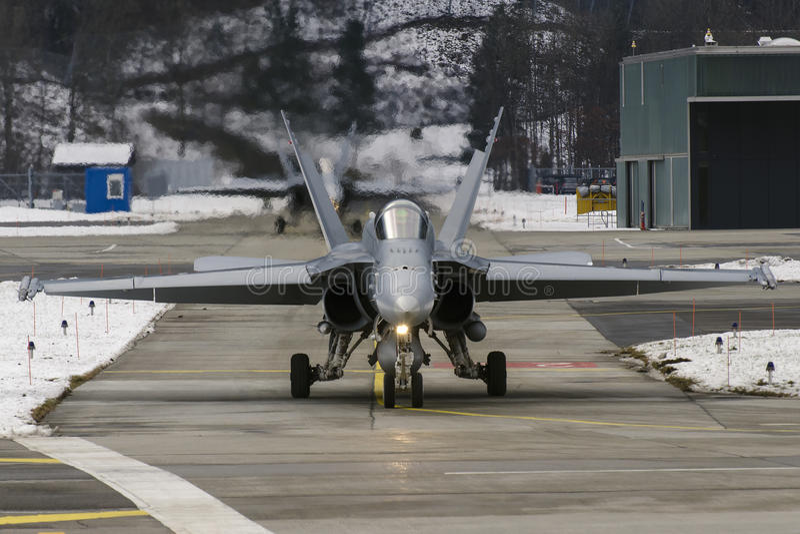 瑞士人FA -18大黄蜂 库存图片