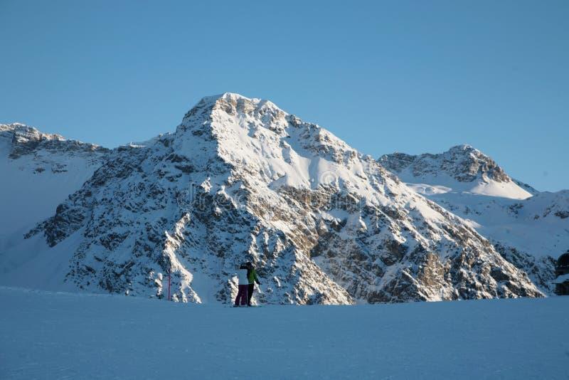 瑞士冬天阿尔卑斯 库存图片