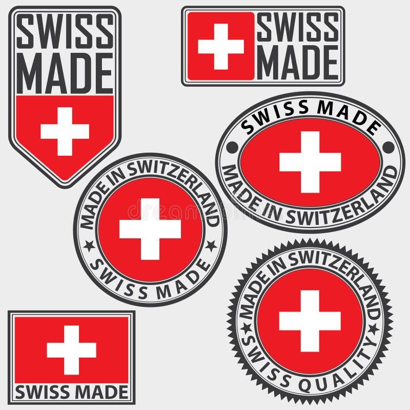 瑞士制造与旗子,瑞士人做,传染媒介的标号组 向量例证