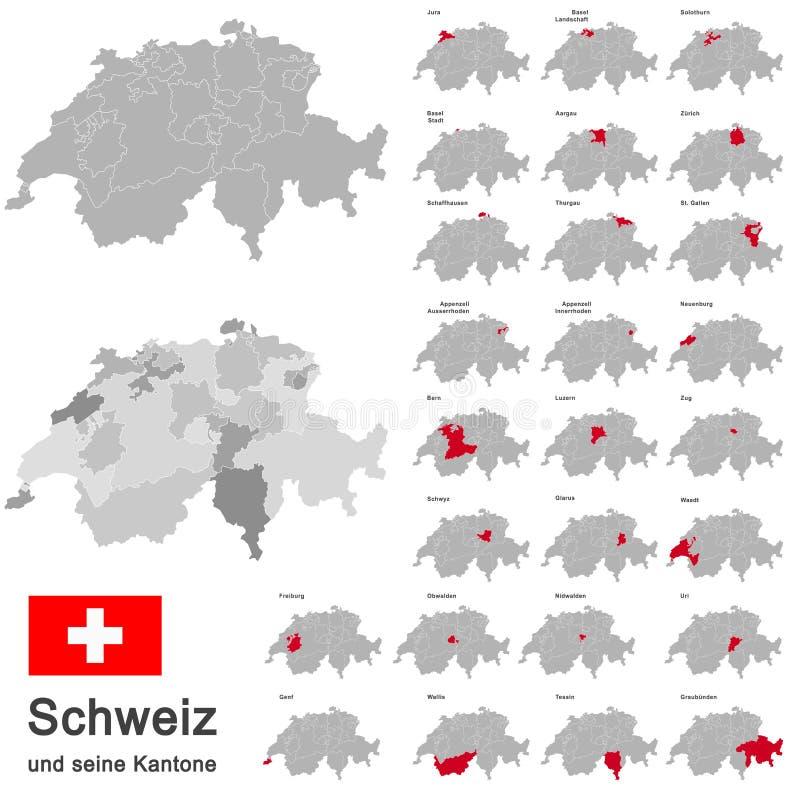 瑞士和小行政区 库存例证