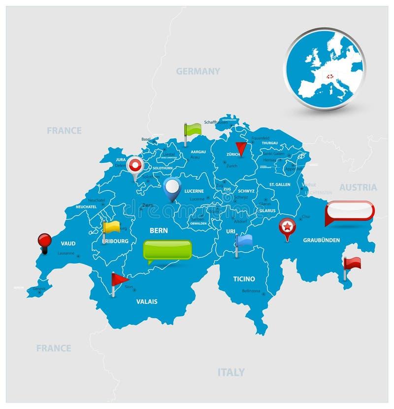 瑞士地图和光滑的象在地图 向量例证